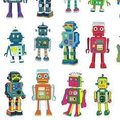 See more of my Robot designs here.  And more colorful fabrics here.  My designs can be re-scaled or re-coloured to suit your needs, please contact me with your request. If you make anything with my designs I would love to see it! Please share your photos and tag them #CeccaDesigns.