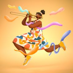Shape & Rhythm on Behance People Illustration, Illustration Art, Illustrations, 3d Character, Character Design, Behance, Nature Music, Maxon Cinema 4d, Different Patterns