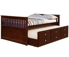Cappuccino full size trundle captains bed Kids Bedroom Furniture captain's beds and captain bed with storage and trundle bed Build A Murphy Bed, Best Murphy Bed, Murphy Bed Desk, Murphy Bed Plans, Desk Bed, Twin Storage Bed, Daybed With Trundle, Full Size Bedroom Sets, Captains Bed