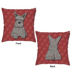 Our Rough and Tough Terrier Dog Throw Pillow will tug at the heartstrings of any dog lover! Featuring a grey and black schnauzer sitting pretty on a red background with mauve paw prints surrounding him, this accent pillow is sure to get your tail wagging. The backside features well…the dog's backside against the same red and mauve paw print background. This adorable dog throw pillow is oh-so-cuddly soft and makes a great accent piece for your child's animal themed room or pet room decor…