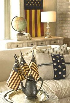 Article re: American flag in decorating by owner/creative director of Curious Sofa Debbie Dusenberry for KC Star Magazine 6/21/09. Foto by Roy Inman. ~~~'