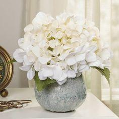 Hydrangea Floral Arrangement in Rope Glass Vase Tall Flowers, Pretty Flowers, Purple Flowers, Spring Flowers, White Flowers, Paper Flowers, White Hydrangea Bouquet, Edible Centerpieces, Silk Floral Arrangements