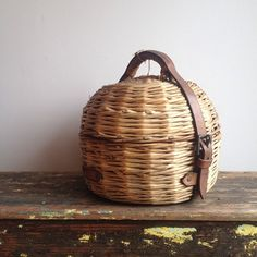 Demimonde Studio and Shop — Beautiful old basket for carrying a curling stone