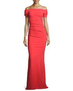 Briseide Off-the-Shoulder Ruched Gown, Orange (neimanmarcus)
