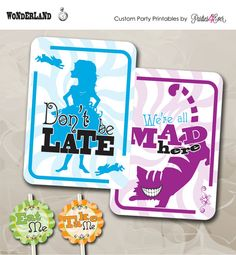 Alice in Wonderland / Tea Party / Mad Hatter / Cheshire Cat / Party Printables / Customize