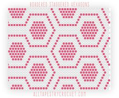 Staggered Bordered Hexagons - Tapestry Crochet Pattern. Find this free pattern and more at http://AllTapestryCrochet.com
