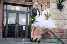 Boho Chic Femme City Elopement Cambridge, MA — James Pancoast Photos Intimate morning of wedding day photo shoot of the couple snuggling, cuddling and having fun followed by bohemian chic elopement lesbian wedding | city hall brides