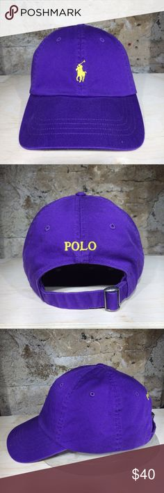 """Ralph Lauren POLO Cotton Chino Cap (Purple) The classic Cotton Baseball Cap is finished with our signature embroidered pony. Seamed bill. Six-panel construction. Embroidered ventilating grommets. Adjustable cotton strap with a """"Polo""""-engraved metal slider buckle at the back. Embroidered """"Polo"""" at the back. Knit band at the interior. Our signature embroidered pony accents the front. 100% cotton. Machine washable. Imported. Polo by Ralph Lauren Accessories Hats"""