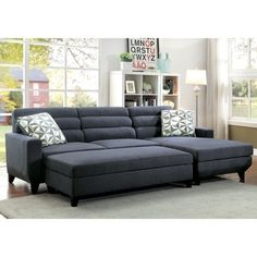 Furniture of America Brixon Contemporary 2-piece Dark Grey Padded Fabric Sectional and Ottoman Set - 19428342 - Overstock.com Shopping - Big Discounts on Furniture of America Living Room Sets