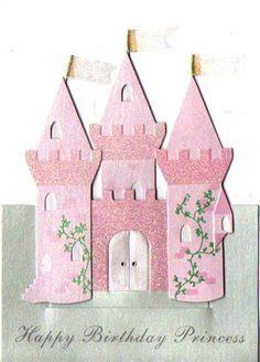 Kids Birthday Cards, Handmade Birthday Cards, Handmade Cards, Princess Theme Birthday, Pink Castle, Pop Up Box Cards, Disney Scrapbook, Kids Cards, Cute Cards