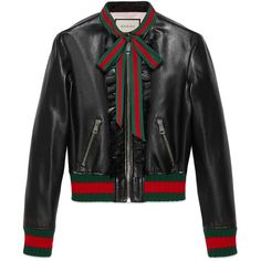 Gucci Ruffle Leather Bomber Jacket (17,080 CNY) ❤ liked on Polyvore featuring outerwear, jackets, black, 100 leather jacket, ruffle jacket, gucci jacket, gucci and leather flight jacket