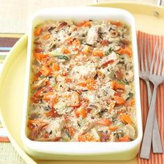Artichoke-Turkey Casserole Here's a low-fat dinner suggestion that combines turkey and artichokes into one delicious casserole. Use the make-ahead directions when you need a warm meal on a busy night.