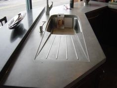 matte black waxed concrete countertops - Google Search