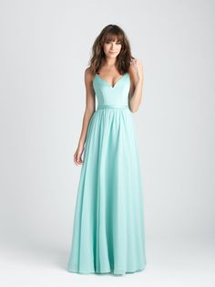 Style: 1503. The structured satin bodice of this gown is paired with a chiffon skirt.