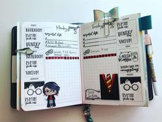 Part 65 Spellbinding Harry Potter spreads! Bullet Journal Month, Bullet Journal Travel, Bullet Journal Banner, Bullet Journal Junkies, Bullet Journal Notebook, Diy Notebook, Bullet Journal Layout, Bullet Journal Inspiration, Book Journal