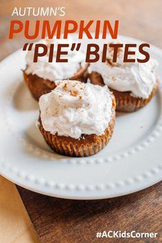 Autumn Calabrese, Healthy Kids Recipes, Autumn's Kids Corner, Pumpkin Pie Bites, Pumpkin Recipes, Pumpkin Pie
