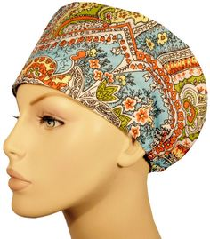 Riley Medical Scrub Caps Navy Paisley
