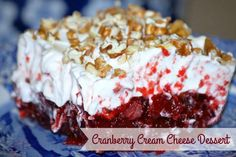 Cranberry Cream Cheese Dessert is part of Holiday dessert Cream Cheeses - This cranberry cream cheese dessert recipe is perfect for Thanksgiving and Christmas If you're looking for fun ways to serve cranberries check it out Cranberry Dessert, Blueberry Desserts, Cranberry Recipes, Cranberry Jello, Cranberry Sauce, Holiday Desserts, Just Desserts, Holiday Recipes, Delicious Desserts