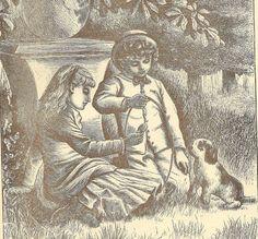Boy and Girl with Little Puppy Original Black & by TheOldBarnDoor, $10.00