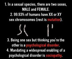 """Well how about that! Geneticist confirms TWO GENDERS --> male and female.  Conservatives Only (@5280.conservative) on Instagram: """"A study was done by geneticist Eric Vilain researching what gender mutations entail. He found that…"""""""