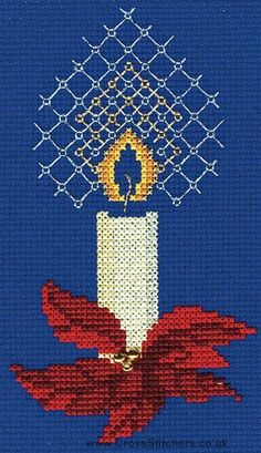Candle Christmas Greetings Card Cross Stitch Kit from Derwentwater Designs
