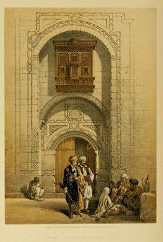 Cairo Egypt COLOR RARE David Roberts Antique Art Print Holy Land Lithograph