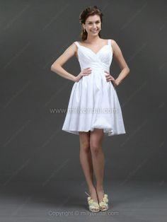 A-line Straps Taffeta Short/Mini Ruffles Wedding Dresses