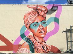 "Street Art - Fin Dac - Portrait of Shirley Camacho - ""Little Haiti, Miami (FL) "" Graffiti Murals, Street Art Graffiti, Mural Art, Reverse Graffiti, Urbane Kunst, Street Gallery, Amazing Street Art, Portraits, Stencil Art"