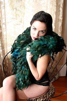 On Dollhouse Bettie: Exotic Dark Turquoise Schlappen Feather Boa $70.00