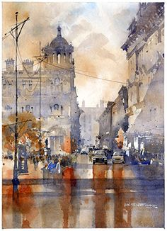 To George Square- Glasgow by Iain Stewart Watercolor ~ 14 x 10