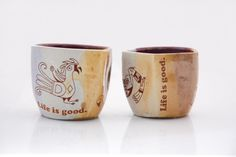 rustic mugs with native american birds
