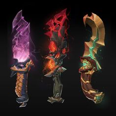ArtStation - More Fantasy Daggers, Julio Nicoletti Weapon Concept Art, Game Concept Art, Fantasy Dagger, Fantasy Art, Game Design, Design Art, Game Props, Anime Weapons, 3d Drawings
