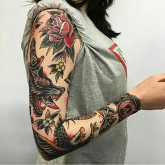 Badass Tattoo Ideas for Women Traditional Sleeve for Badass Tattoo Idea for WomenTraditional Sleeve for Badass Tattoo Idea for Women Tattoo Girls, Girls With Sleeve Tattoos, Full Sleeve Tattoos, Girl Tattoos, Tattoos For Guys, Tattoo Sleeves, Tattoo Women, Tattoos Skull, Leg Tattoos