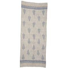 Grey Wool Scarf with Tree Motif