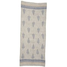 Grey Wool Scarf with Tree Motif