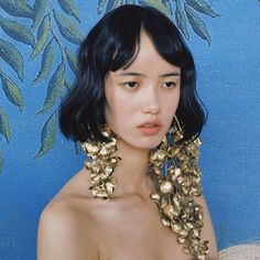 ejing_zhang > Our gold-foiled supersize earrings for @xu_zhi_ SS18 catwalk, featured in T Magazine.