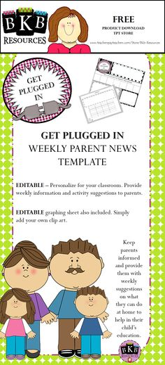FREE editable template for weekly parent news. Editable graphing template for students.