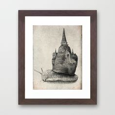 """""""The Snail's Dream"""" Framed Print by Eric Fan on Society6."""