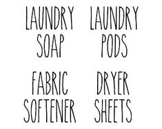Set of 3 Laundry Room Vinyl Decal Stickers Laundry Pods Laundry Room Decals, Vinyl Wall Decals, Wall Stickers, Hand Lettering Alphabet, Vinyl Lettering, Pantry Organization Labels, Laundry Pods, Fabric Softener, Sign Quotes