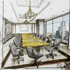 This image used pen, grey marker tones and one bright colour. This use of the yellow marker colour emphasises the table in the image.