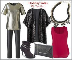 My Top Picks from Simply Be. Metallic Shell Top, PU Zipper Detail Pants, Sequin Front Kimono, Studded Shoe Boot E Fit, Glitter Envelope Clutch Bag, Statement Necklace, Plain Coloured Woven Tank Top.