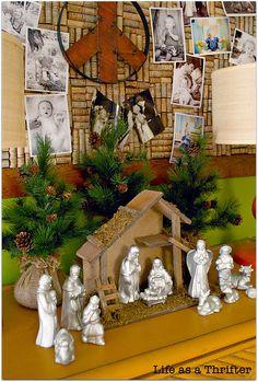 spray paint an old nativity set