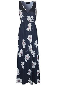 Zattcas Womens V Neck Sleeveless Empire Waist Floral Maxi Dress XXLarge Print2 ** Want to know more, click on the image.