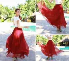 Wine Red Chiffon skirt Maxi Skirt Long Skirt by originalstyleshop