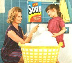 Mainos: Suno - 1962 Vintage Housewife, Domestic Goddess, Old Recipes, Old Ads, Teenage Years, Plastic Laundry Basket, Retro Design, Vintage Ads, Homemaking