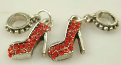 Pandora inspired Dangling Charm // High Heels with Red Crystal Accents // 1 Piece // Gifts for Her  //  High Fashion  //  Red Shoes