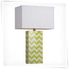 HGTV HOME Graphic Control Green & White Chevron Ceramic Table Lamp