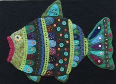 Fishy quilt art wall hanging home decor fabric by JannekeQuilts