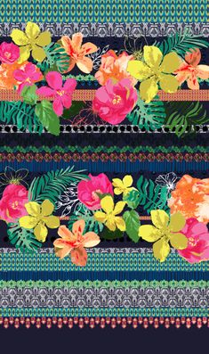 Matthew Williamson inspired Tropical print. Carnival/Tropical - edit stitch detail into carnival drawings?