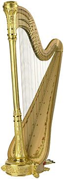 Lyon and Healy gold harp. I love the look of these but whenever I see them at concerts I get worried something bad will happen to them and its not even mine!